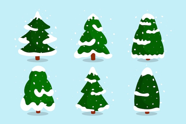 Christmas forest trees with snow flat set. green snowy fir-tree of different shapes in cartoon style.