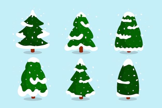 눈 평면 세트 크리스마스 숲 나무입니다. 만화 스타일에 다른 모양의 녹색 눈 덮인 전나무 나무.