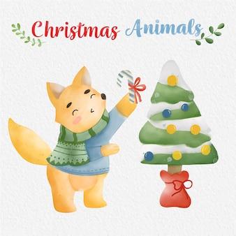 紙の背景とクリスマスキツネの水彩イラスト