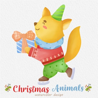 Christmas fox watercolor illustration with a paper background
