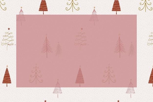クリスマスフレームの背景、冬の落書き、赤いベクトルのかわいい松の木のパターン