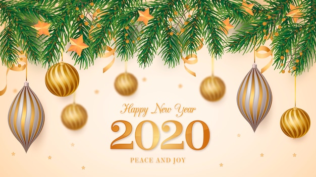 Christmas frame background with realistic golden balls