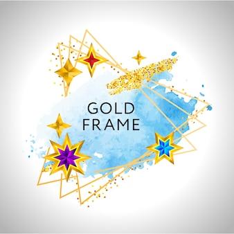 青い水彩の金色の星とテキストの場所とクリスマスフレームのお祝いの背景。