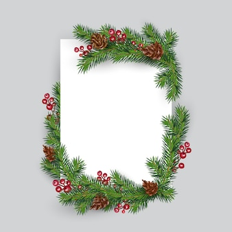 Christmas frame decoration fir tree and berries. invitation new year greeting card