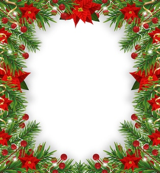 Christmas frame decorations with poinsettia, fir tree, holly berries and decorative golden ribbons.