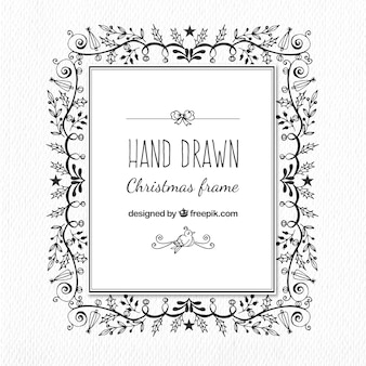 Christmas frame hand-drawn floral ornaments