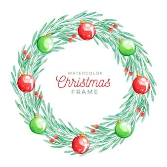 水彩スタイルのクリスマスフレーム