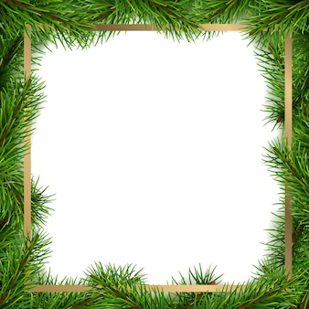 Christmas frame made from spruce tree branches.