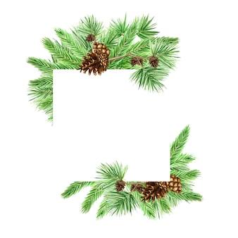 松の枝と円錐形のクリスマスフレーム、水彩画