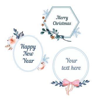 クリスマスフレームは白い背景に水彩要素を設定します