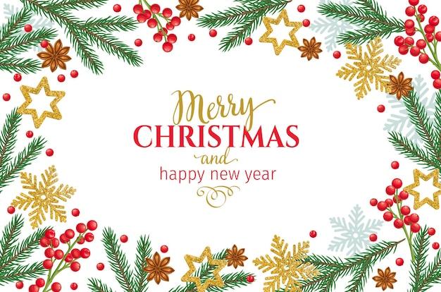 Шаблон новогодней рамки с еловыми ветками, снежинками, звездчатым анисом, украшениями и праздничными красными ягодами.