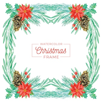 Christmas frame in watercolor style