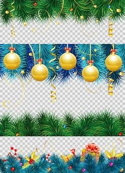 싸구려, 전나무 가지, 겨우살이, 깃발, 선물 및 크리스마스 테두리 장식이 있는 크리스마스 프레임. 투명 한 배경에 고립 된 벡터 일러스트 레이 션