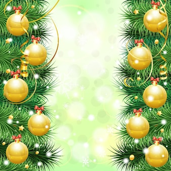 Christmas frame with baubles, fir branches, paper streamer and confetti, vector illustration