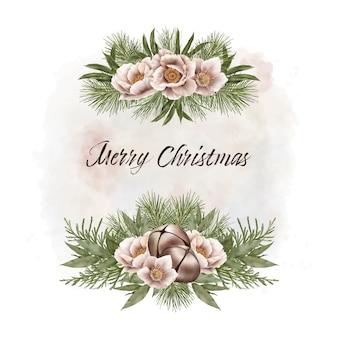 鐘と花のクリスマスフレーム
