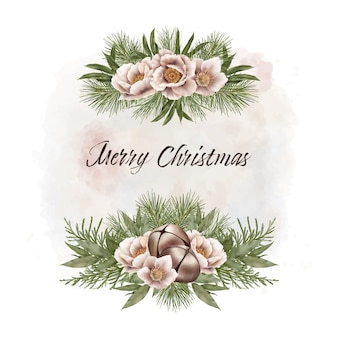 Christmas frame with bells and flowers