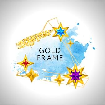 Новогодняя рамка с синими акварельными золотыми звездами