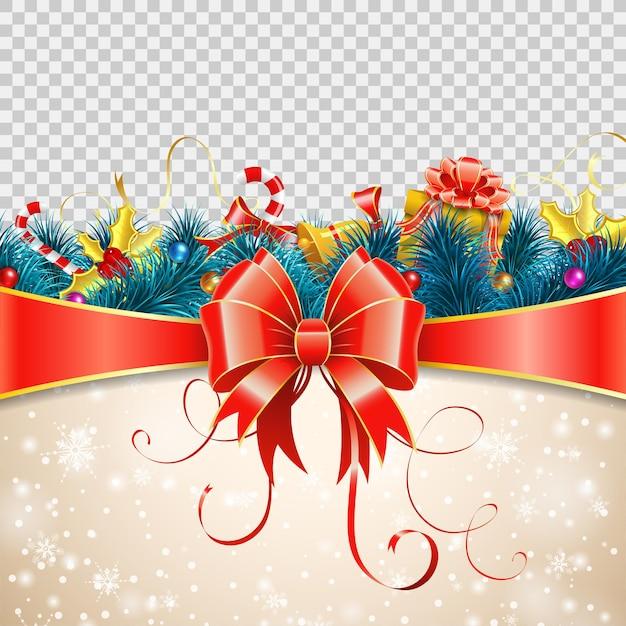 Новогодняя рамка с бантом, еловыми ветками, омелой, серпантином, подарком и рождественским украшением границы. изолированные векторные иллюстрации на прозрачном фоне