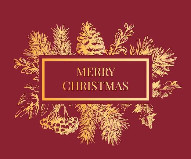 クリスマスツリーの枝とクリスマスフレーム。