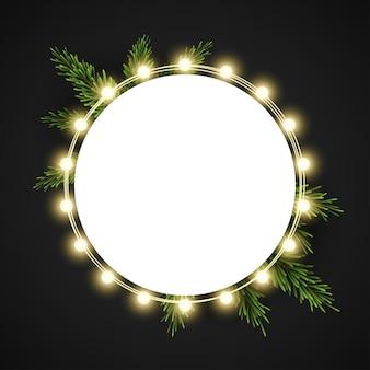 Новогодняя рамка с еловыми ветками на темном фоне
