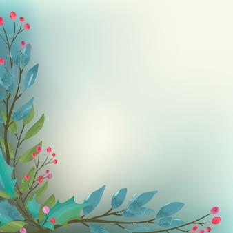 물 색으로 식물 장식으로 크리스마스 프레임