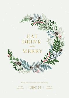 Новогодняя рамка с ягодами падуба, сосновыми и еловыми ветками, шишками, ягодами рябины. рождество