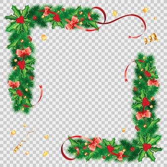 ホリーベリー、モミの枝、ヤドリギ、ストリーマー、クリスマスの装飾が施されたクリスマスフレーム。透明な背景に