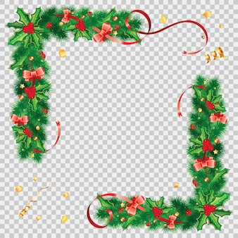 Christmas frame with holly berry, fir branches, mistletoe, streamer and christmas decoration. isolated vector illustration on transparent background