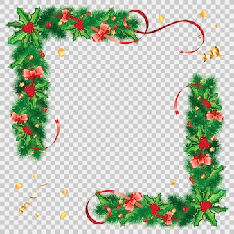 Christmas frame with holly berry, fir branches, mistletoe, streamer and christmas decoration.   on transparent background
