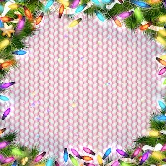 光の花輪のクリスマスフレーム