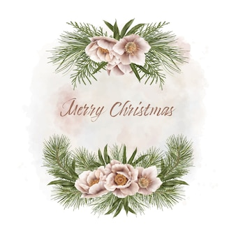 Christmas frame with pine branches and flowers