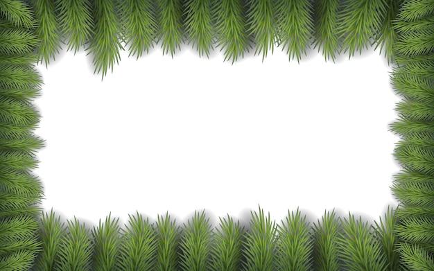 Новогодняя рамка с сосновыми ветками с пространством для текста. современная плоская иллюстрация. рамка с реалистичными еловыми ветками на белом фоне для поздравительной открытки.