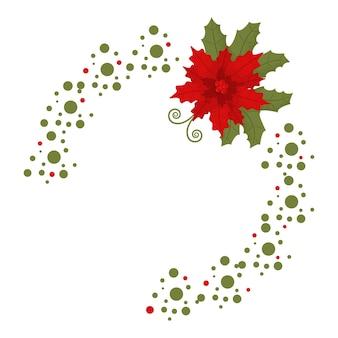 포 인 세 티아와 크리스마스 프레임입니다. 흰색 바탕에 휴일 장식 요소입니다.