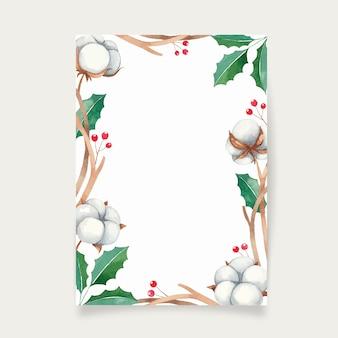 Новогодняя рамка с красными ягодами и цветами хлопка, рамка