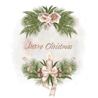リボンと花のクリスマスフレーム