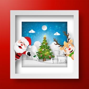 산타 클로스와 순록 크리스마스 프레임