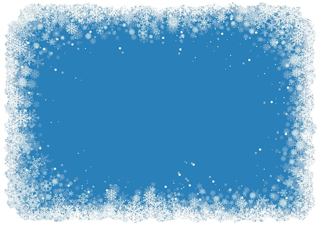 Christmas frame with snowflakes over blue background.vector eps10.