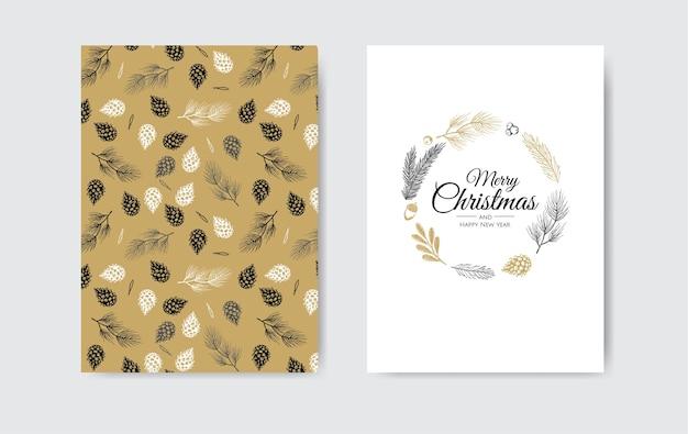 冬の植物とクリスマスフレーム。植物のイラスト。