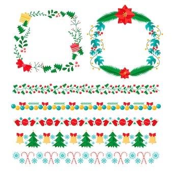 평면 디자인의 크리스마스 프레임 및 테두리