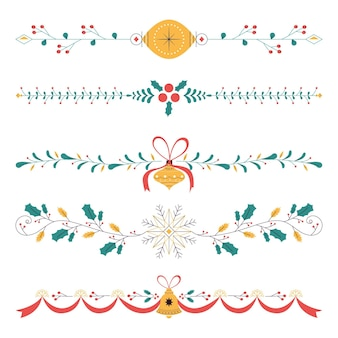 フラットなデザインのクリスマスフレームとボーダー