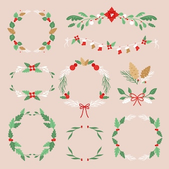 Christmas frames and borders in flat design