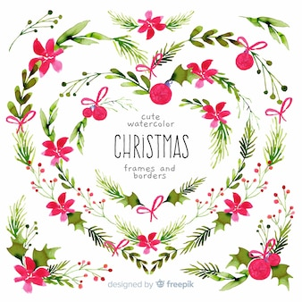 Christmas frames and borders in watercolor