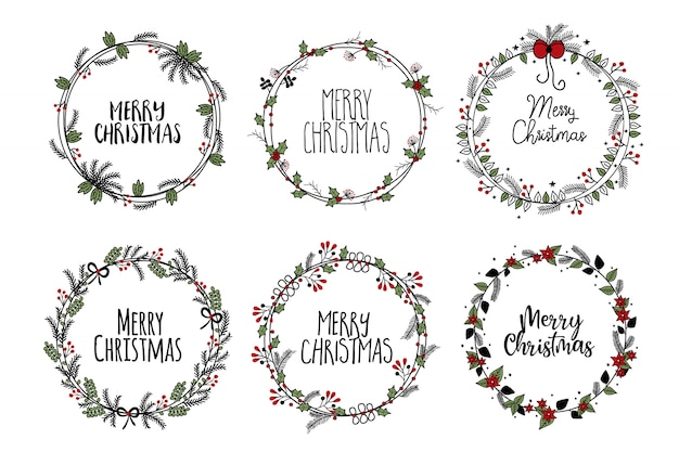 Christmas frames branches wreath