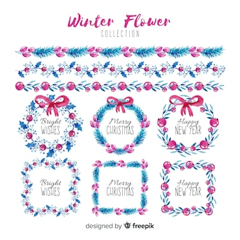 Christmas frames, wreaths and borders watercolor collection