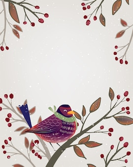 Christmas framing poster with bird and fir