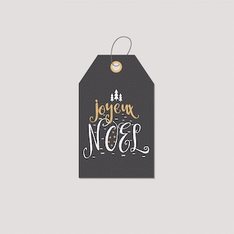 Christmas in french greeting. joyeux noel typography tag or label