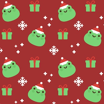 Christmas frog seamless pattern background
