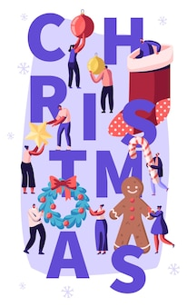 Рождественские забавы с персонажами людей украшают дом, мультяшный плоский рисунок