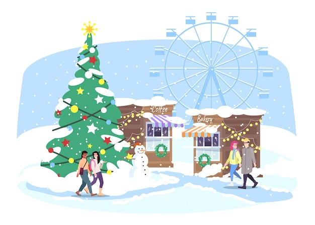 クリスマスのfunfair。クリスマスストリートマーケットを歩く人々。市場の屋台、観覧車、クリスマスのモミの木がある冬の見本市会場。お正月グリーティングカード