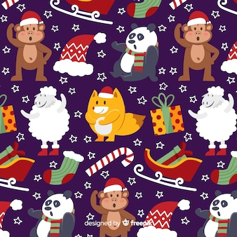 Christmas funny pattern with animals